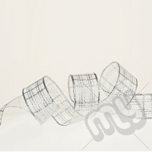 Silver Metallic Check Ribbon 25mm x 25metres - WIRED