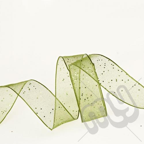 Green Random Glitter 25mm x20metres - WIRED