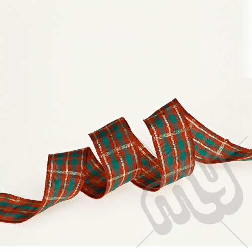 Red, Green & Gold Tartan Ribbon 25mm x 20metres - WIRED