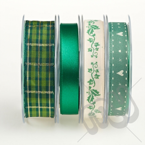 Christmas Ribbon, Green Holly - 16metres