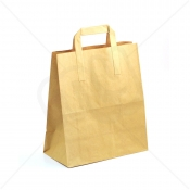Brown Kraft SOS Carrier Bags With Flat Handles - LARGE x 250pcs