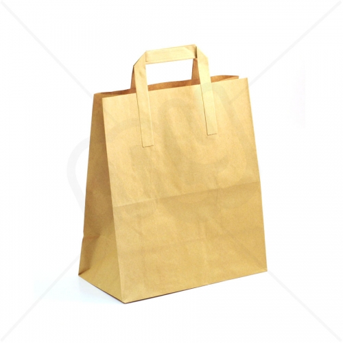 Brown Kraft SOS Carrier Bags With Flat Handles - LARGE x 50pcs