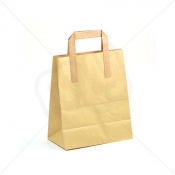 Brown Kraft SOS Carrier Bags With Flat Handles - MEDIUM x 250pcs
