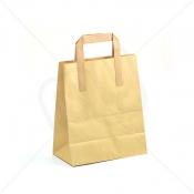 Brown Kraft SOS Carrier Bags With Flat Handles - MEDIUM x 250pcs