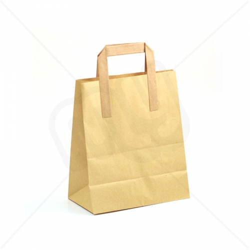 Brown Kraft SOS Carrier Bags With Flat Handles - MEDIUM x 50pcs