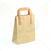 Brown Kraft SOS Carrier Bags With Flat Handles - SMALL x 50pcs