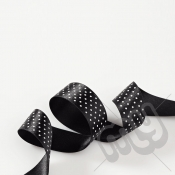 Black Polka Dot Double Satin Ribbon 25mm x 20 metres