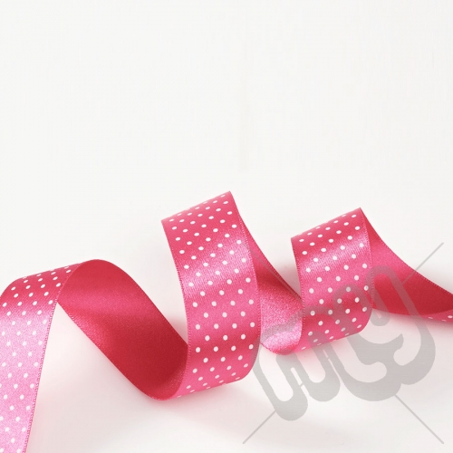 Fuschia Pink Polka Dot Double Satin Ribbon 15mm x 20 metres