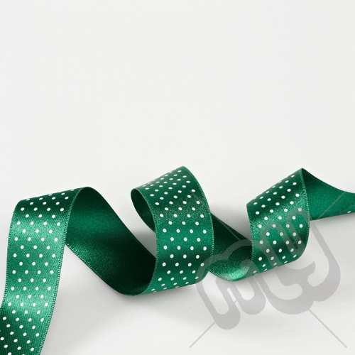 Green Polka Dot Double Satin Ribbon 25mm x 20 metres