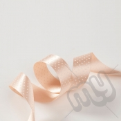 Peach Polka Dot Double Satin Ribbon 25mm x 20 metres