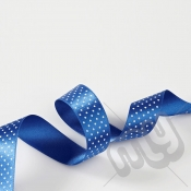 Royal Blue Dot Double Satin Ribbon 15mm x 20 metres