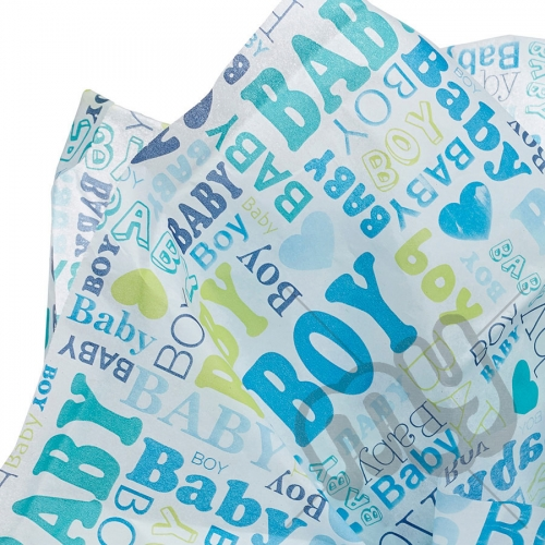 Baby Boy Blue Printed Tissue Paper - 6 Sheets