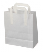 White Kraft SOS Carrier Bags With Flat Handles - SMALL x 50pcs