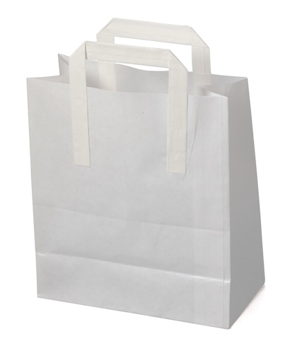 White Kraft SOS Carrier Bags With Flat Handles - LARGE x 50pcs
